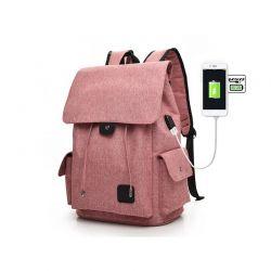 Σακίδιο Πλάτης με Θύρα Φόρτισης USB Χρώματος Ροζ Kequ DYN-K-341