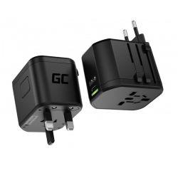 Universal Αντάπτορας για Πρίζες με Θύρες USB-A Ultra Charge και USB-C TripCharge PRO Green Cell AK85